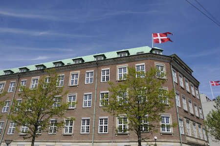 Copenhagen Denmark - 25. May 2017. Danish flag and danish ministry of defnce in danish capital.