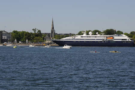 Copenhagen Denmark - 27. May 2017. Foreign visitors form northe American and european countries with cruiseships and bus and small boat cruis in copenhagn habour and channel Christianshavn canal  and othr means Editorial