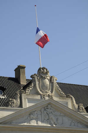 Copenhagen Denmark - 26. May 2017. French Flag at half mast at French embassy in Copenhagen ,Denmark solidatertry  with Bristish  Government and people of manchester terrorist victims  regarding informatio frm French emabssy in Copenhagen Denmark. Editorial