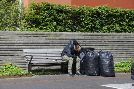kastrupCopenhagen Denmark - 02 June  2017. Roma people collect empty can and bottle for recycling and get cash from food market.