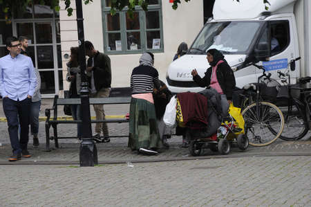 Copenhagen Denmark - 02 June  2017. Copenhagen lord maoyro and danish state would like get ride of these roma people due to Copenahgen city landscape and sleeping in parks but suprime court has blocked thier wish till now , they begs  and othr activies a