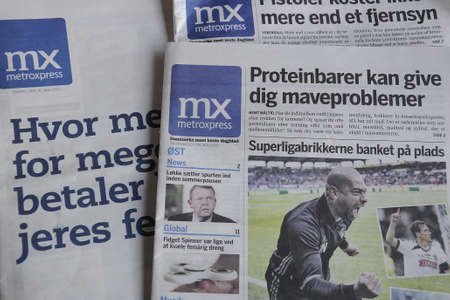 finanse: kastrupCopenhagen Denmark - 05 June  2017. Metroxpress is only free daily newspaper from monday- Friday distibute in bus stops and trains stations and in  various route buses . Editorial