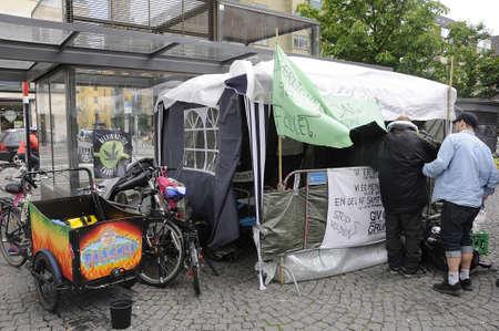 tent city: Copenhagen Denmark - 12 June 2017. Copenhagen city council has not find yet colustion for homeless danes thoue at settled in tent at Christianhaven torv.