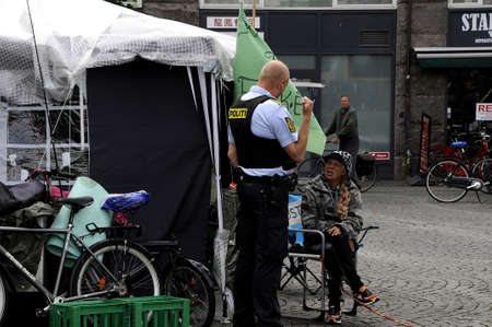 Copenhagen Denmark - 13 June 2017.Danish police pays friendly visit to homeless dane t check they are comfortable and fine.