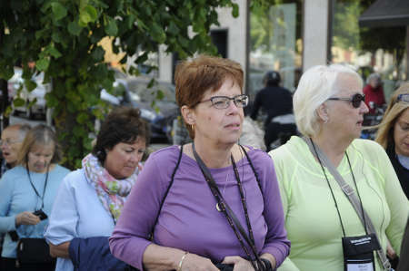 finanse: Copenhagen Denmark - 15.June 2017.  Senior people from USA United States of America vacationing in Copenhagen and they are on sightseeging hisroial places in Danish capital.