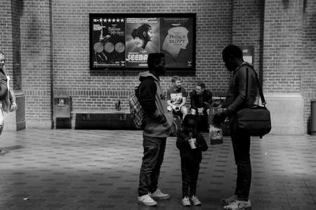 the next life: Copenhagen Denmark - 16.June 2017. Traveler life at waiting for next train at Copenhagen Central train station.