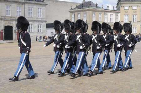Copenhagen Denmark - 13.jULY  2017. Royal guardw changes at Amamilenborg palace some reason guard change was delayed for 15-20 mintues  and pubic was dispointed and start turn away at ceremony and some left and few stayed to watch ceremony.