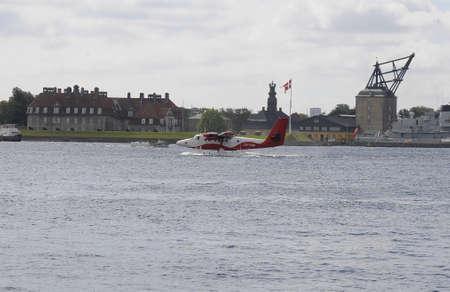 Copenhagen Denmark - 13.jULY  2017. New travel route from Copenhagen city to jutland Denmark and helicapter is departuring from Copenhagen sea port.