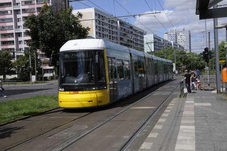 BERLINGERMANY 04 July  2017. _Ticket controller in Berlin having ticket control in Berlin Trams on Alexandrr Platz in Berlin Germany