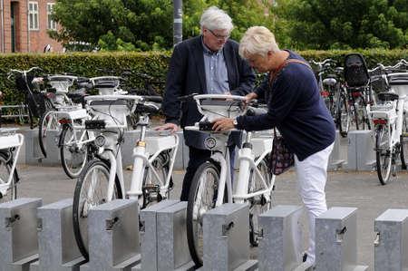 Copenhagen Denmark - 19.jULY  2017. Copenhagen city council provides electric bikes for small amount of money to rent electric bikes around danish capital Copenhagen.