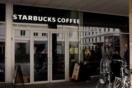 Copenhagen Denmark - 26.july  2017.American Starbucks coffe chain cafe .