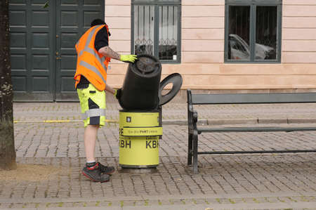 Copenhagen /Denmark - 26.july  2017.    Council waste collectors worker . Stock Photo - 82851165