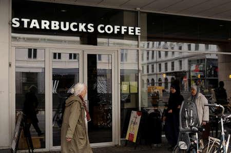 Copenhagen Denmark - 26.july  2017.American Starbucks coffee chain cafe . Editorial