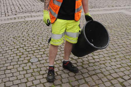 Copenhagen Denmark - 26.july  2017.    Council waste collectors worker .