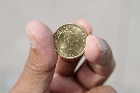 Copenhagen Denmark - 02 August. 2017.   Danish ten kroner coin with portrait of H.M.The Margrethe II of Denmark. Stock Photo