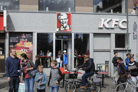 Copenhagen Denmark - 06 August. 2017. American chain KFC restauarant in danish capital. Editorial