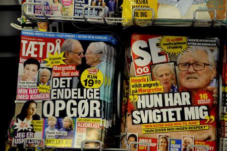 royals: Copenhagen Denmark - 10 August. 2017.  Danish newspapere headlines and weekly magazine all about danish royals.