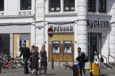 Copenhagen Denmark - 13.August. 2017.   Sydbank of the danish bank in danish capital.