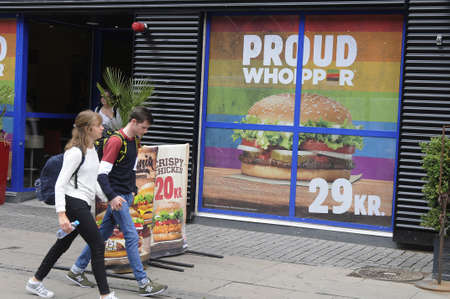 Copenhagen Denmark - 18.August. 2017.   Burger king colour rainbow Proud Whooper to celebrate Lesbian and Gays rights during Copenhagen pride 2017