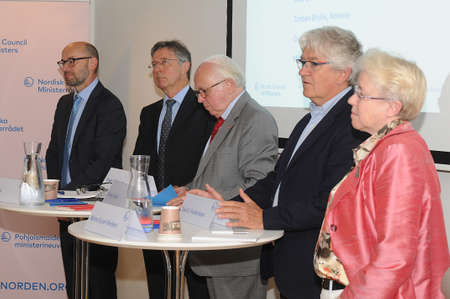 Copenhagen Denmark - 23.August. 2017 Keytones by .  Mr.Dr.Christian Ketels principal assocate from Harvard Business school and 5 danish  ambassador Ms.Mette Kjuel Nielsen in Iceland and Hans Brask in Latavia and Dan E.Frederiksen,in Lithuania and Torben