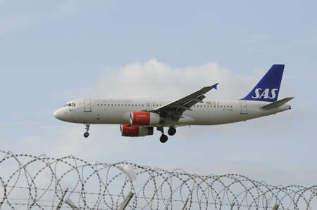 Copenhagen Denmark - 26.August. 2017.     SAS Scandinian fligt landing at Copenhaagen Interntional Kastrup airport .