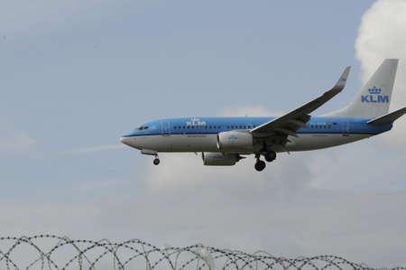 Copenhagen Denmark - 26.August. 2017.      Dutch KLM landing at Kastrup Copenhagen Interntional aiport .