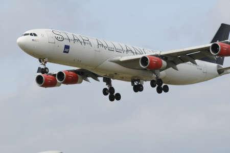 Copenhagen Denmark - 26.August. 2017.     SAS Scandinian fligt landing at Copenhaagen Interntional Kastrup airport Editorial