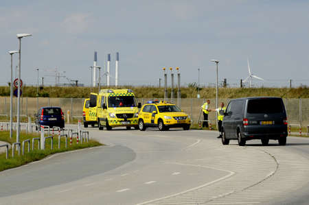 Copenhagen Denmark - 26.August. 2017.  Sime acident and medicial assiatance been provided in Kastrup.