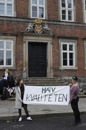 Copenhagen Denmark - 31..August. 2017.   Danish students stanging proetst rally infron finance ministry inside minister for finance presents annual state budget , student are scaare the time will come they  drops or reduce sudent cafe money, presures com Sajtókép