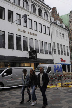 not open: Copenhagen Denmark - 04.September. 2017.  2ND day Illums boligus store  got fired and lost of millions of danish kroner and still not open for business an may take some few days  business street and area  at Amager torv on stroeget in Copenhgen, police h