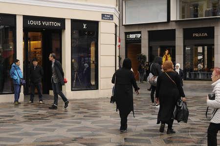 Copenhagen Denmark - 06.September. 2017.   Shoppers on amager torv ,Louis vuitton and Prada stores Editorial