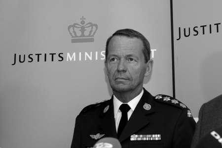 Copenhagen Denmark - 08.September. 2017. Bjorn Bisserup danish defence arms forece cheif  at joint press confernce with ministers  and police cheicf. for denmark ecurity. Editorial