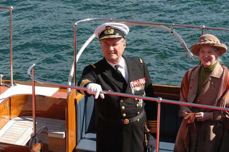 HM the Queen Margrethe II and husband prince Hnerik official on board Royal ship Danneborg as usual each year and royal couple will sail from Copenhagen to Hillingoer city and have lunch on ship today Friday April 28,2006 Copenhagen Denmark Editorial