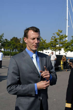 H.R.H.prince Joachim paticipate sail tour with school ship whch has return home yo Denmark, Prince Joachim will sails first i nsmall boat and than to school ship whichy is anker in open sea at Vesbaek Habor Denmark Sept.15,2006 Editorial
