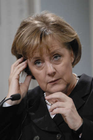German Chancellor Angela Merkel visits Danish prime minister Anders Fogh Rasmussen and hodls joint press conference at Mirror Hall prime minister office at Christiansborg ,Merkel will take over European Union chairmanship from Jan 1,2007,this is her first Editorial