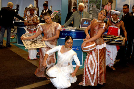 Sri Lanka airline dancers preforming cyelon national dancee at Goeteborg  Tur 2006 -Travel fair 2006Goteborg Sweden March 23,2006