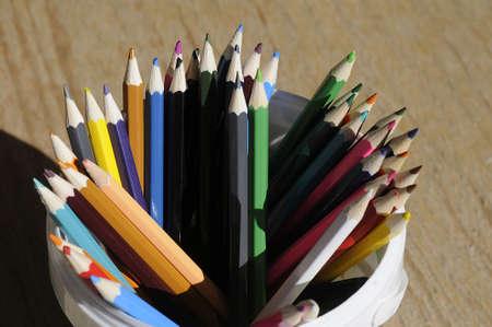 코펜하겐  덴마크 - 10.10 월. 2017. 컬러 연필입니다. 스톡 콘텐츠