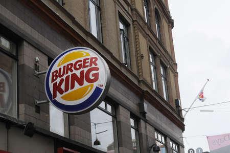 Copenhagen Denmark - 12.September. 2017.American chain Burger King and KFC kentecy fried chicken side by side restauarant .