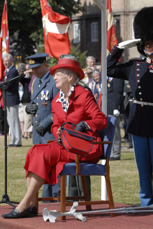 when: H.M.the Queen Margrethe was operated her legs and now she uses Crutches when she walk today was hr first public appearance to give Queen Watch to Roayl quard Kaer Vodder Nielsen from Vibe Denmark, Copenhagen DENMARK june 23,2006 Editorial