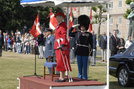 H.M.the Queen Margrethe was operated her legs and now she uses Crutches when she walk today was hr first public appearance to give Queen Watch to Roayl quard Kaer Vodder Nielsen from Vibe Denmark, Copenhagen DENMARK june 23,2006 Editorial