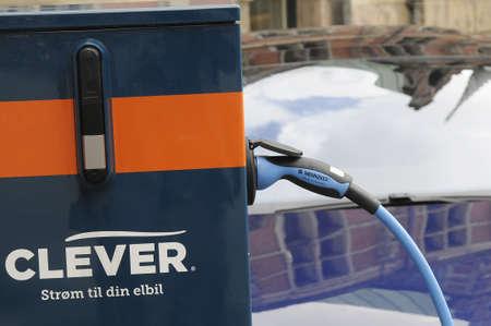 Copenhagen Denmark - 17 .September. 2017.   American tesla electric sedan  at recharge booth.