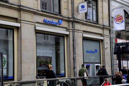 Copenhagen Denmark - 20.September. 2017.    People cash at nordea banks at ATM. Editorial