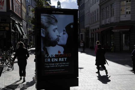 Copenhagen Denmark - 20.September. 2017.   Freedom to love and make decision for slect partner for marriage and to love  billboard  message is from Copenhaen City Council to on westerne immigrants .