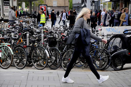 Copenhagen Denmark - 20.September. 2017. Bicycles stand at Local tran stion Norreport and metro tain station Nerroeport . Editorial