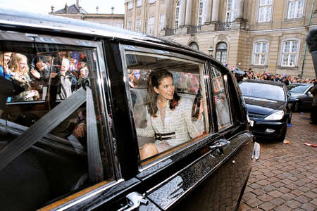 Copenhagen Denmark - 08 October 2003    well wishers at Amamlienborg palace for Crown prince Frederik and his Fianace Mary Donaldson drive from Aamalienborg palace  after apearn on palace balcony with royal family members.