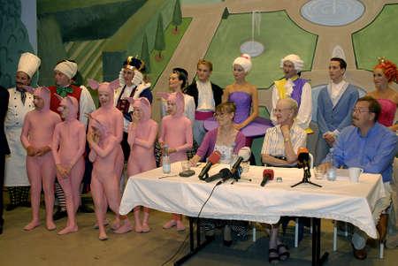La regina Margrethe II di Danimarca arriva e ripassa le prove dopo la conferenza stampa tenuta il 16 luglio 2009. Archivio Fotografico - 86715493