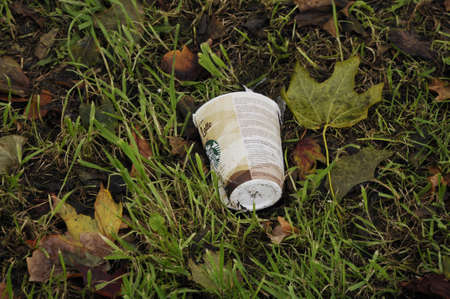 Copenhagen Denmark - 05 October  2017. Starbucks liter waste in nature. Editorial