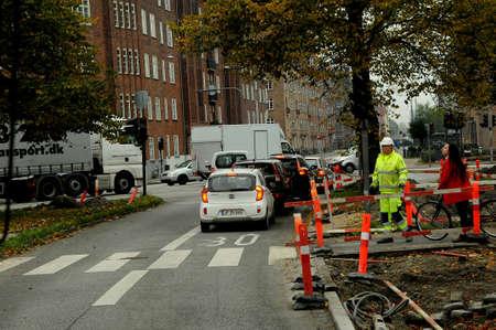 Copenhagen Denmark - 16.October  2017.   Danish traffic koask in danish caital due to traffic signal out of  functions in varous place in danish capital.