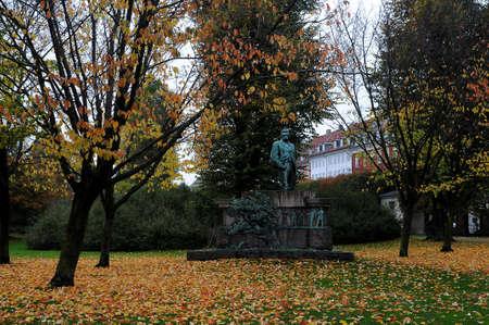 KastrupCopenhagen Denmark - 23.October  2017.  Autumn or falls colour leaves on ground and on trees .