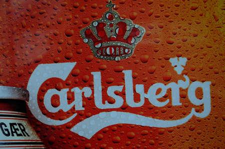 Copenhagen Denmark - 25.October  2017.   Danish old carlberg beer in can and glass. Editorial